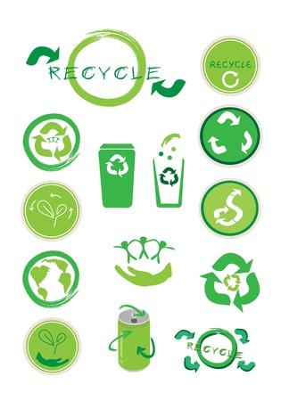 cleaning planet: Go Green, An Illustration Collection of Different Ecology Icon and Recycle Concept Icon for Save The Earth Concept