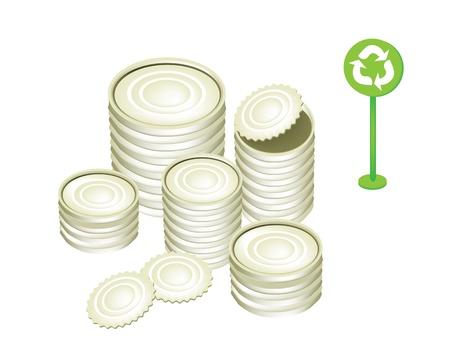 재활용 개념이나 지구 개념, 재활용 기호와 재활용을위한 준비 다른 옵션의 알루미늄 캔이나 깡통의 그림을 저장 일러스트