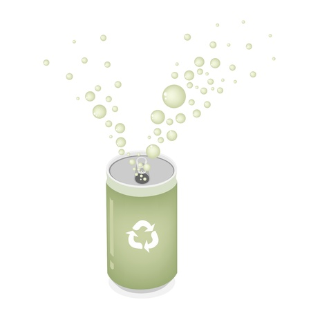 An Illustration Collection of Open Green Can and Splash Water with A Recycle Sign for Recycle Concept Or Save The Earth Concept Vector