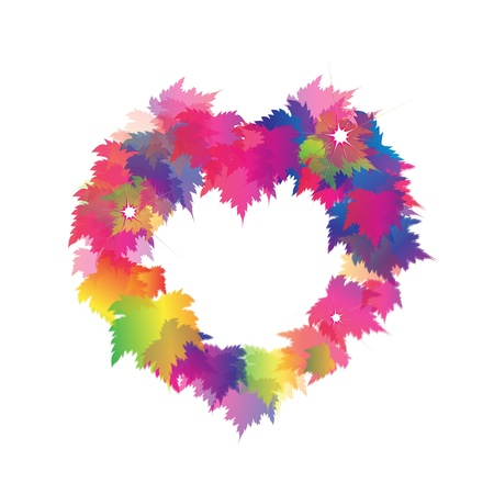 Heart Shapes Made of Colorful Autumn Maple Leaves Vector