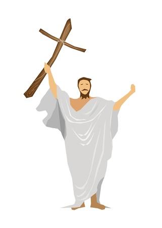 Una ilustración de Jesús Cristo con una cruz de madera y orar por las personas Ilustración de vector