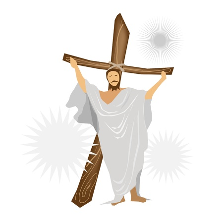 An Illustration of Jesus Christ Standing with A Wooden Cross and Praying for People  Stock Vector - 18627261