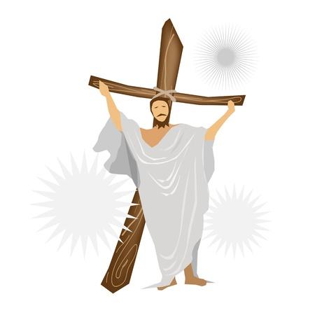 cruz de madera: Una ilustraci�n de Jes�s Cristo de pie con una cruz de madera y orar por las personas
