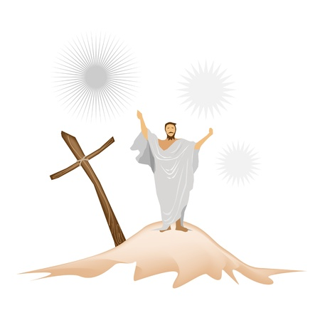 An Illustration of Jesus Christ Standing with A Wooden Cross and Praying for People on A Mountain Stock Vector - 18616790