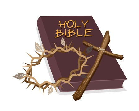 An Illustration of Brown Covered Bible with Wooden Cross and A Crown of Thorn, The Foundation of Christianity Vector