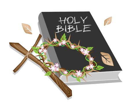 new testament: An Illustration of The Foundation of Christianity Black Covered Bible, Wooden Cross and A Crown of Thorns with Fresh Green Leaves and Pink Flower