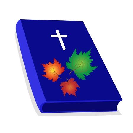cruz de madera: Una ilustraci�n de la Biblia azul cubierto con cruz de madera y hermosas hojas de arce, la Fundaci�n de la Cristiandad