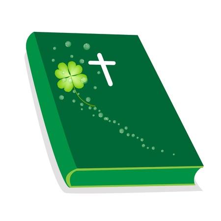 cruz de madera: Una ilustraci�n de cubierta verde Biblia con la cruz de madera y plantas frescas tr�bol de cuatro hojas del tr�bol o, la Fundaci�n de la Cristiandad