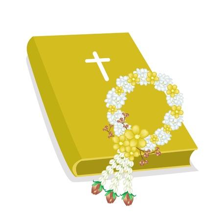 simbolos religiosos: Una ilustración de Orange cubierto Biblia con la cruz de madera y A Beautiful White Jasmine Flowers Garland, La Fundación de la Cristiandad Vectores
