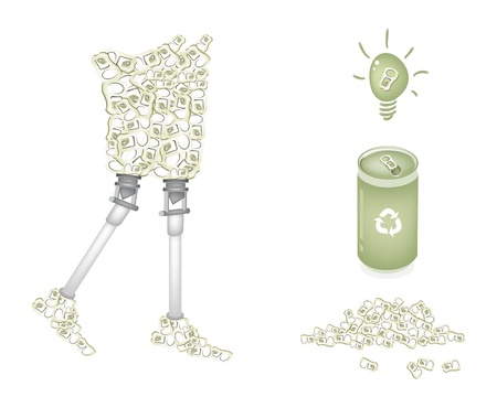 metal legs: Recycle Concept Or Save The Earth Concept, An Illustration Aluminum Can and Ring Can Recycle To Prosthetic Leg or Artificial Leg Illustration
