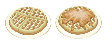 Freshly Homemade Belgian Waffles, One Plain Waffle and One with Pouring Syrup Isolated on White Background Vector