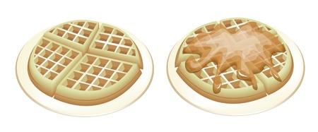 gofre: Gofres belgas reci�n hechas en casa, una galleta normal y uno con Jarabe de colada aislado en el fondo blanco Vectores