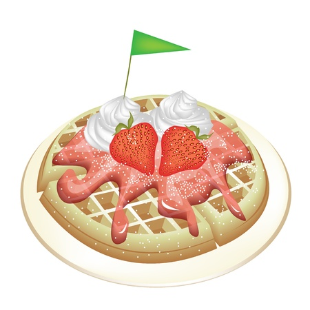 belgian waffle: Freshly Homemade Round Belgian Waffle Topped with Fresh Strawberries, Syrup, Whipped Cream and Little Green Flag Isolated on White Background