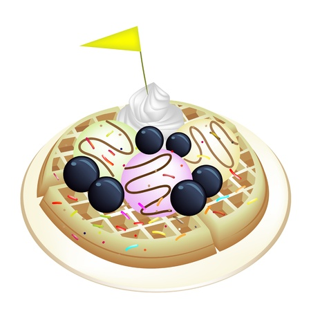 belgian waffle: Freshly Homemade Round Belgian Waffle Topped with Fresh Blueberries, Whipped Cream, Ice Cream and Little Yellow Flag Isolated on White Background