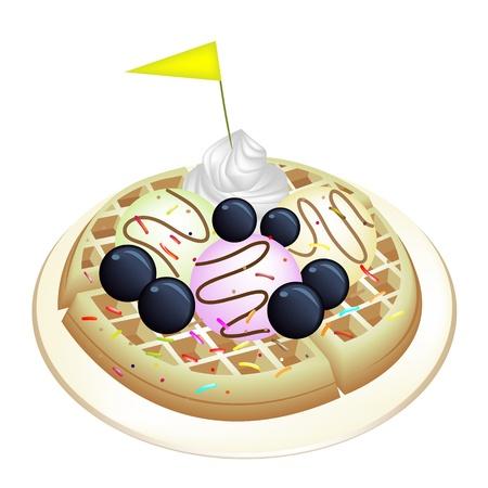 belgian waffle: Freshly Homemade Round Belgian Waffle Topped with Fresh Blueberries, Whipped Cream, Ice Cream and Little Yellow Flag Isolated on White Background