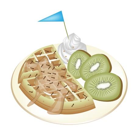 belgian waffle: Freshly Homemade Round Belgian Waffle with Slices of Kiwi Fruit, Syrup, Whipped Cream and Little Blue Flag Isolated on White Background