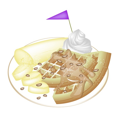 belgian waffle: Freshly Homemade Round Belgian Waffle with Sliced Banana, Syrup, Chocolate Chips, Whipped Cream and Little Purple Flag Isolated on White Background Illustration