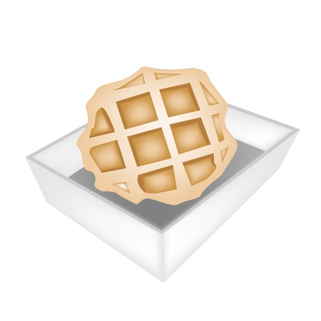 belgian waffle: Sweet Food and Dessert Food, A Freshly Homemade Baked Waffle in White Paper Box Package Isolated on White Background