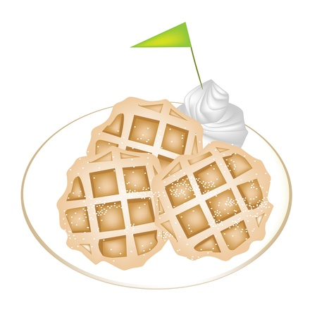 belgian waffle: Freshly Homemade Round Belgian Waffles with Icing, Whipped Cream and A Little Green Flag Isolated on White Background Illustration