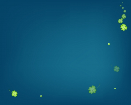 good luck charm: Elegant Template of Abstract Delicate Fresh Green Four Leaf Clover Plants or Shamrocks on Blue Background with Copy Space for Text Decorated  Illustration