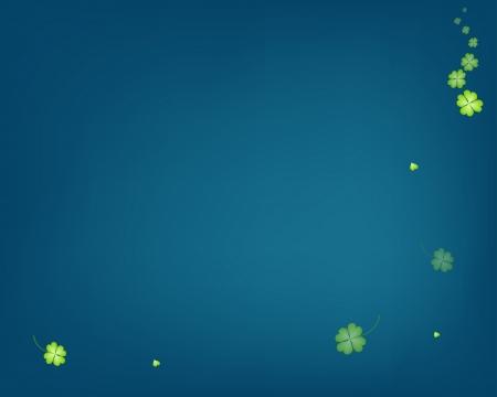 four leaf: Plantilla elegante de resumen delicados frescos verdes Plantas Cuatro Leaf Clover o tr�boles en fondo azul con copia espacio para el texto adornado