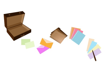 An Illustration of Open Dark Brown Briefcase with Office Supply, Note Paper, Spiral Paper, Envelope, File Folder and Pen fro Business Person