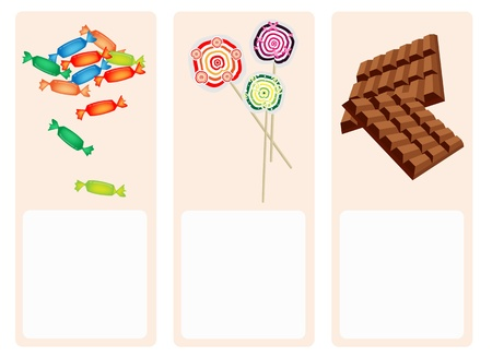 An Illustration Cute Banner of Sweet Food, Bar of Milk Chocolate, Wrapped Hard Candy and Colorful Lollipops with Copy Space for Text Decorated  Vector