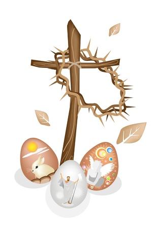 cruz de madera: Colores Marr�n Ilustraci�n de una corona de espinas colgando en una cruz de madera pintada con huevo de Pascua del conejo, Angel y Cristo Jes�s