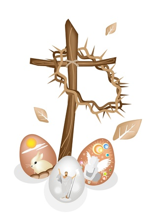 Illustration Brown Colors of A Crown of Thorns Hanging on A Wooden Cross with Painted Easter Egg of Rabbit, Angel and Jesus Christ Vector