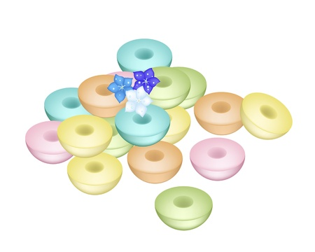 Sweet Food and Dessert Food, Freshly Homemade of Colorful Thai Sweetmeat Puddings with Forget Me Not Flowers Vector