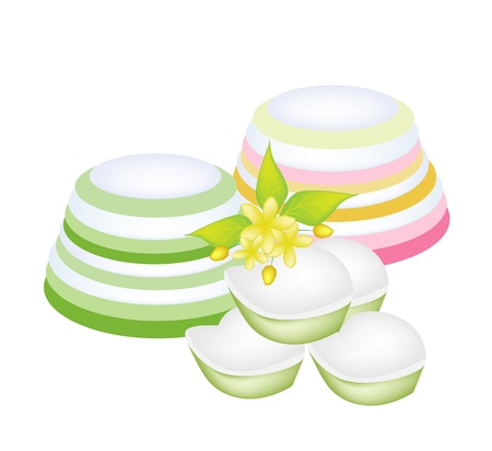 Sweet Food and Dessert Food, Freshly Homemade of Colorful Thai Layer Jellies or Pudding with Beautiful Yellow Flowers Vector