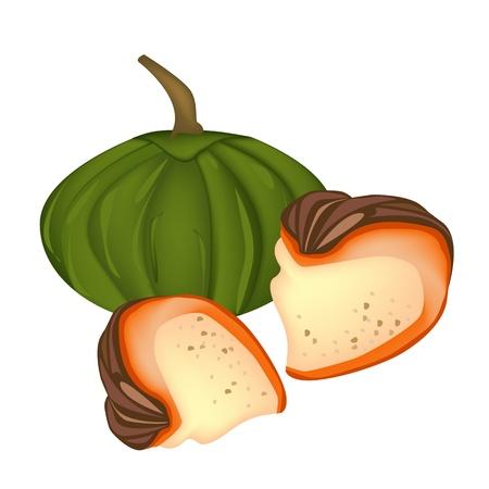 custard: Thai Sweet Food and Dessert Food, A Freshly Homemade of Slice Pumpkin with Custard Made up of Egg, Coconut Milk and Palm Sugar