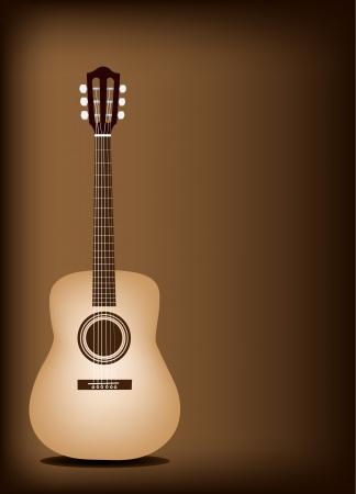 guitarra clásica: Instrumento de m�sica, una ilustraci�n de la guitarra cl�sica en Brown Vintage Hermoso fondo oscuro con copia espacio para el texto decorado