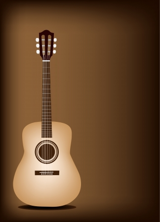 Music Instrument, An Illustration of Classical Guitar on Beautiful Vintage Dark Brown Background with Copy Space for Text Decorated  Illustration