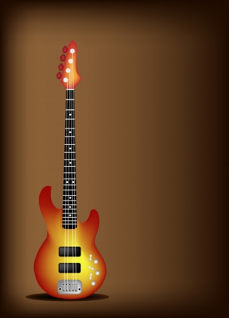 Music Instrument, An Illustration of Red Electric Guitar on Beautiful Vintage Dark Brown Background with Copy Space for Text Decorated  Vector