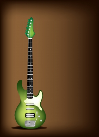 Music Instrument, An Illustration of Green Electric Guitar on Beautiful Vintage Dark Brown Background with Copy Space for Text Decorated  Vector