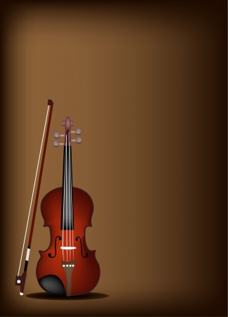 fiddlestick: Music Instrument, An Illustration of Violin on Beautiful Vintage Dark Brown Background with Copy Space for Text Decorated