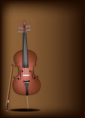 fiddlestick: Music Instrument, An Illustration of Cello and Bow on Beautiful Vintage Dark Brown Background with Copy Space for Text Decorated