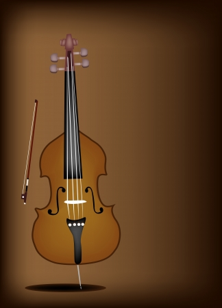 Music Instrument, An Illustration of A Beautiful Double Bass and Bow on Beautiful Vintage Dark Brown Background with Copy Space for Text Decorated  Vector