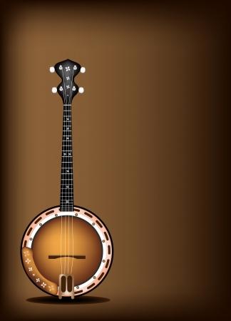음악 악기, 장식 텍스트 복사 공간을 가진 아름 다운 빈티지 다크 브라운 배경에 단일 다섯 문자열 밴조의 그림