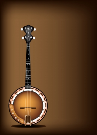 Music Instrument, An Illustration of A Single Five String Banjo on Beautiful Vintage Dark Brown Background with Copy Space for Text Decorated  Vettoriali