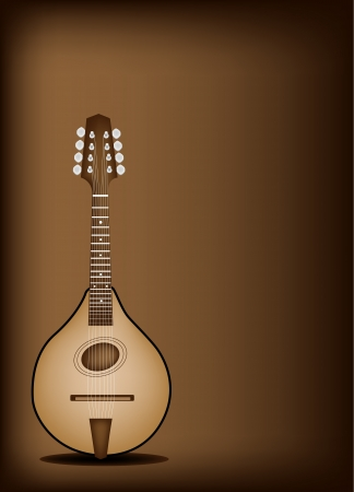 bluegrass: Music Instrument, An Illustration of A Beautiful Antique Bluegrass Mandolin on Beautiful Vintage Dark Brown Background with Copy Space for Text Decorated