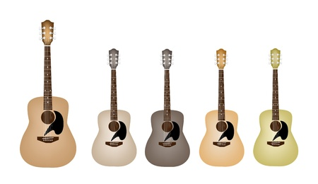rosewood: Music Instrument, An Illustration Collection of Acoustic Guitars in Various Earth Tone Colors and Vintage Style