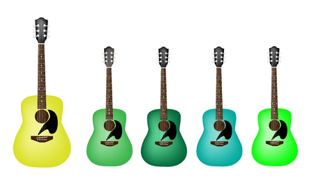 Music Instrument, An Illustration Collection Different Shade of Green Acoustic Guitars on White Background