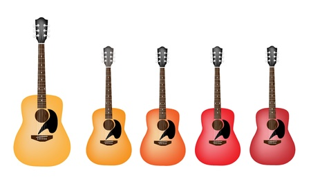Music Instrument, An Illustration Collection Different Shade of Red and Yellow Acoustic Guitars on White Background