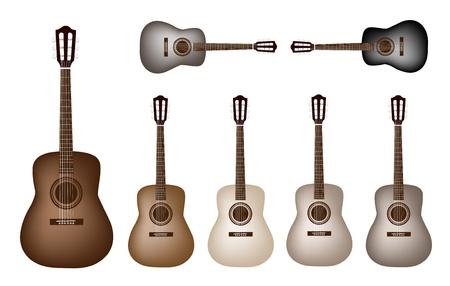 guitarra clásica: Instrumento de m�sica, un ejemplo de la colecci�n de la guitarra cl�sica en varios tonos tierra colores y el estilo vintage Vectores