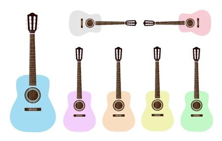 guitarra clásica: Instrumento de m�sica, una colecci�n de ilustraciones Guitarra Cl�sica colorido en gris, rosado, azul claro, p�rpura, naranja, amarillo y verde claro Vectores