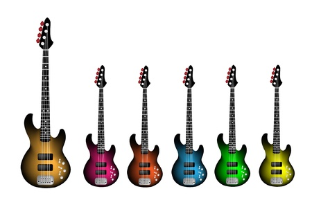 rosewood: Music Instrument, An Illustration Collection of Electric Guitars of Heavy Metal or Rock and Roll in Orange, Pink, Red, Blue, Green and Yellow Colors Illustration