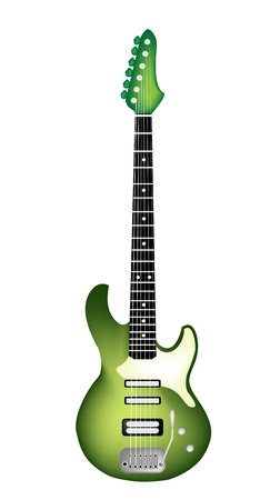 rosewood: Music Instrument, An Illustration  of A Single Green Electric Guitar on White Background Illustration