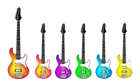 rosewood: Music Instrument, An Illustration Collection of Colorful Electric Guitars of Heavy Metal or Rock and Roll in Red, Pink, Purple, Green, Blue and Yellow Colors